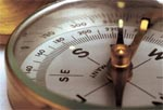 close up picture of a compass